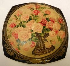 Vintage Signed French Rose Flower Black Gold Art Deco Retro Celluloid Compact | eBay