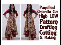 Layered A - Line Kurta Drafting and Cutting Tunic Designs, Kurta Designs Women, Kurti Neck Designs, Dress Neck Designs, Long Kurti Patterns, Stitching Dresses, Gown Pattern, Pattern Drafting, Dress Sewing Patterns