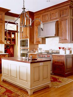 New kitchen remodel cherry cabinets layout 24 ideas Wood Kitchen, Cherry Cabinets Kitchen, Kitchen Decor, Kitchen Remodel, Home Kitchens, New Kitchen Cabinets, Painted Kitchen Island, Contrasting Kitchen Island, Kitchen Cabinets