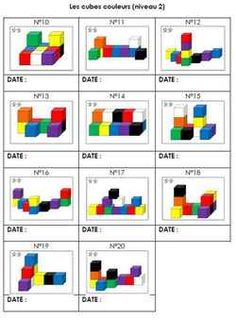 Fiche de suivi des cubes couleurs niveau 2 GS Language Activities, Learning Activities, Block Center Preschool, I Love Math, Logic Games, Busy Boxes, Grande Section, Maths Puzzles, Math Concepts