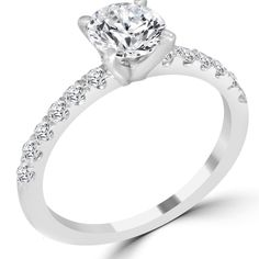 Round White Gold Solitaire with Accents Diamond Engagement Rings Yellow Diamond Engagement Ring, Round Solitaire Engagement Ring, Round Diamond Engagement Rings, Engagement Wedding Ring Sets, Diamond Rings, Diamond Jewellery, Small Wedding Rings, Band, Ring Settings