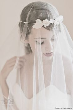 love this veil! enchanted atelier bridal alessandra floral halo poeme french tulle veil