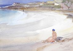 Sir William Russell Flint - A quiet beach at Reiff, Ross-Shire 1947 England