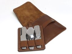 Cutlery Set Camping Leather Compact