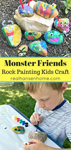 A fun and easy DIY art project, this Monster Friends Rock Painting Kids Craft is the perfect, simple activity for boys and girls of all ages to express creativity and imagination.