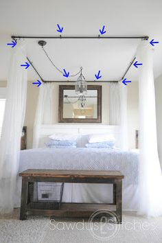 Take It From Me: Sawdust2Stitches DIY Canopy Bed Tutorial (Guest Post) BEST TUTORIAL I HAVE FOUND YET.
