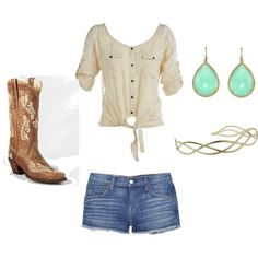 Cowgirl by bonnie-rose-thompson on Polyvore featuring polyvore, fashion, style, TEXTILE Elizabeth and James, Corral, Irene Neuwirth, Urbanista and clothing