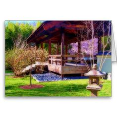 """A blank 7x5 greeting card featuring the image """"Meditation Garden"""" by artist and photographer Rodney Keith Richardson. This card can be customized."""