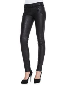 Snake-Print Leather Pull-On Skinny Pants by RtA Denim at Neiman Marcus.