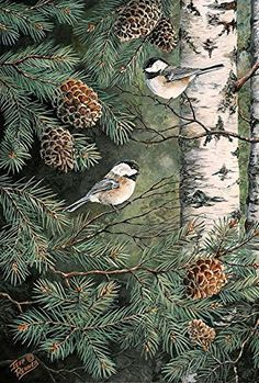 Toland Home Garden Pinecone Chickadees 28 x 40 Inch Decorative Fall Winter Bird Pine Tree House Flag -. out of 5 stars via 16 ratings See Buy Options in Patio, Lawn & Garden Nature Sketch, Autumn Scenes, Bird Pictures, Outdoor Art, Wildlife Art, All Birds, Cute Illustration, Large Art, Bird Art