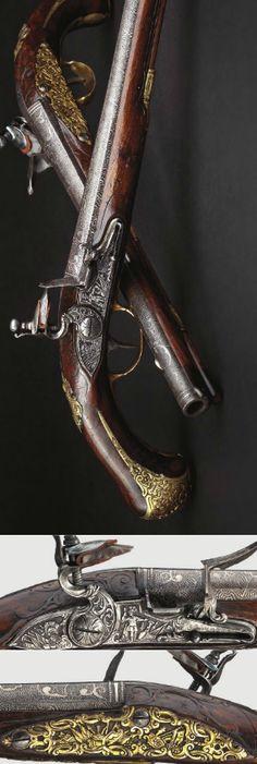 A pair of deluxe flintlock pistols Johann Joseph Bauer,Vienna ca. 1730.