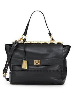 Piper Leather Top Bar Satchel