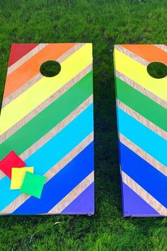 In honor of pride month, the @thriftedqueen created this magical rainbow cornhole using Martha's spray paints from Michaels Stores. A fun outdoor activity and craft to celebrate love is love. Fun Outdoor Activities, Outdoor Games, Martha Stewart Crafts, Michael Store, Stencil Painting, Cornhole, Homemaking, Craft Supplies, Stencils