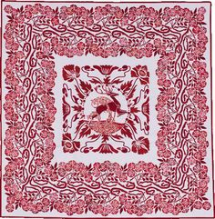 """Red Deer with Poppies and 274 Roses"" by Merelyn Pearce.  Design Source: 300 Art Nouveau Designs & Motifs in Full Colour. Best of Category, Red & White Special Exhibit. 2015 Sydney Quilt Show."