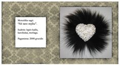 heart shape fur black white RebelSoulEK brooch