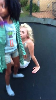 Skai Jackson and Peyton List in trampoline
