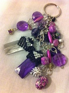 Purple beaded, silver chain, silver charms key chain on Etsy, $15.00