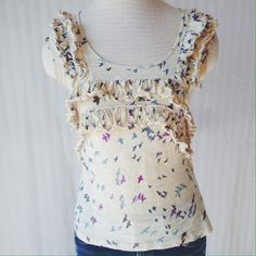 C.Keer Flights of Fancy top Beautiful multicolor birds soar on this knit top. Gently worn top, no holes, stains, etc. no trades Anthropologie Tops Blouses