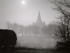 Andrew Sanderson  Photography-dawn-over-misty-church www.andrewsanderson.com Copyright Andrew Sanderson. Black and white, analogue, film, darkroom