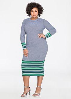 Stripe Border Midi Sweater Dress