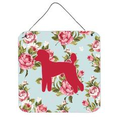 Caroline's Treasures Poodle Shabby Elegance Blue Roses Hanging by Denny Knight Graphic Art Plaque