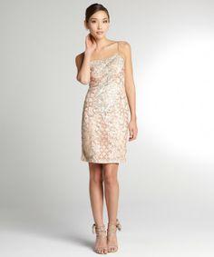 Sue Wong sandalwood stretch embellished sequin sleeveless dress
