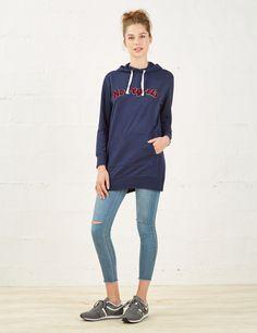 Sweat long à patch bleu marine femme • Jennyfer