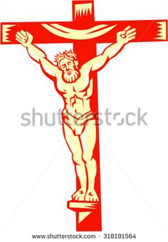 Illustration of Jesus Christ on cross viewed from front set on isolated white background done in retro woodcut style. Halloween Art, Royalty Free Images, Jesus Christ, Retro Fashion, Holidays, Illustration, Fictional Characters, Design, Style