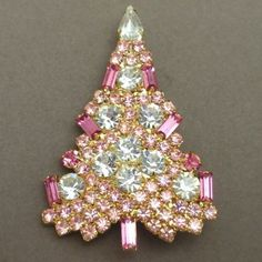 Breast Cancer Yoga supports Breast Cancer Awareness with a pink Christmas Tree Pin, Anthony Attruia Jeweled Christmas Trees, Pink Christmas Tree, Shabby Chic Christmas, Noel Christmas, Vintage Christmas, Christmas Glitter, Jewelry Tree, Key Jewelry, Pink Jewelry