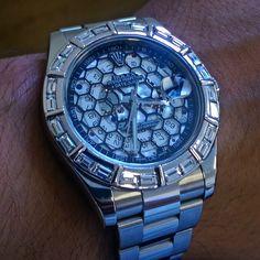 """""""Piece Unique"""" 1/1 Rolex Datejust. Custom 4ct white baguette diamonds bezel and honeycomb skeleton custom dial by Label Noir Design."""