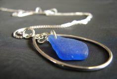 Sea Keeper sea glass necklace in cobalt blue Blue Beach, Sea Glass Necklace, Box Chain, Simple Jewelry, Cobalt Blue, Heart Ring, Gemstone Rings, Mermaid, Drop