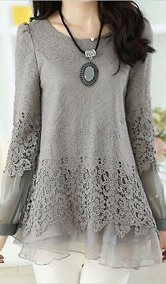 Soperwillton Women Lace Blouses Shirts Long Sleeve Lace Vintage Femininas Blusas 2016 Renda Tropical Tops Clothing Plus Size Street Mode, Street Style, Beautiful Outfits, Cool Outfits, Vetements Clothing, Grey Blouse, Long Blouse, Mode Inspiration, Mode Style