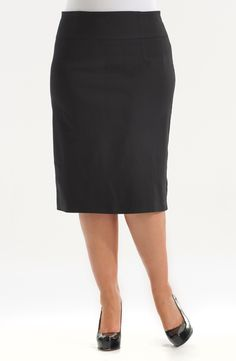 /Black Style No: Stretch bengaline pencil skirt with a wide waistband and a centre back split. Pencil Skirt Black, Plus Size, Skirts, Black Style, Outfits, Centre, Diva, Sweet, Fashion