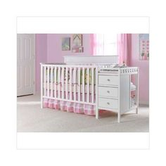 Crib and changing table.