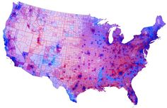 Election 2012: Blue & Red states, counties, cities = Purple