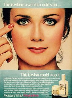 1972 Miss World America and actress (Wonder Woman!) Lynda Carter in an old ad from the 1980s for Maybelline cosmetics. #old #retro #vintage #advertising #1980s #lyndaCarter #wonderwoman #beautyqueen #cosmetics #celebritiesinadvertising
