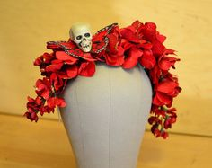 Day of the Dead Crown Dia de los Muertos Red by HikariDesign