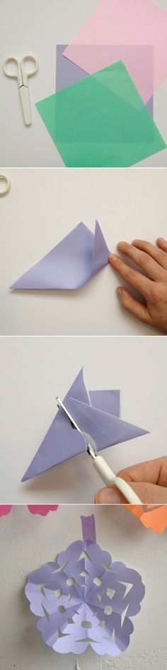· · how to make simple paper snowflakes — full tutorial at link
