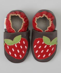 Take a look at the MOMO Baby Brown & Red Strawberry Booties on #zulily today!