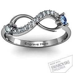 My ring in the near future! <3 But with our birthstones and names engraved! :]   Double Stone Infinity Accent Ring