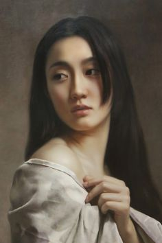 Wang Neng Jun (王能俊), oil on canvas {figuratve realism art beautiful female head shoulder hand asian woman face portrait cropped painting detail #2good2btrue}