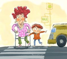 Children's book illustration about a boy crossing the street with his grandma. www.bobmcmahon.com