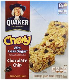Quaker Chewy Granola Bar Reduced Sugar Chocolate Chip 67 oz *** You can find out more details at the link of the image.