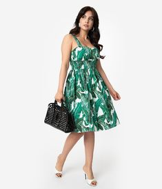 57f16473e432 Retro Style Green Cotton Tropical Leaf Swing Dress – Unique Vintage  Tropical Leaves, Green Cotton