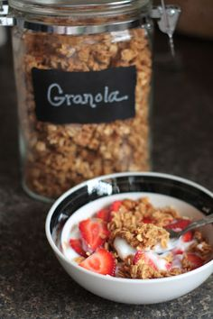 really simple granola.  just brown sugar, honey, oil (like canola), cinnamon, vanilla, & oats!   would be great in a gift basket too!