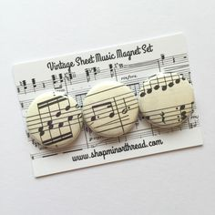 "Set of three 1"" magnets, made from sheets of vintage German sheet music. Each…"