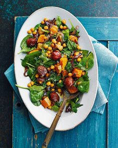Roasted squash pairs perfectly with chorizo and chickpeas in this warming winter salad recipe.