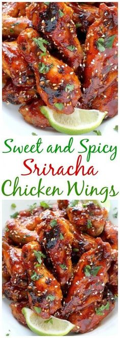 So AMAZING! Sweet and Spicy Sriracha Baked Chicken Wings - Baked, not fried, these chicken wings can be ready in just one hour!!! Cooking Chicken Wings, How To Cook Chicken, Meat, Food, Eten, Hoods, Meals