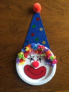 Clown Project - Diy and Crafts Clown Crafts, Carnival Crafts, Cute Crafts, Diy And Crafts, Circus Theme Crafts, Projects For Kids, Diy For Kids, Crafts For Kids, Paper Plate Crafts