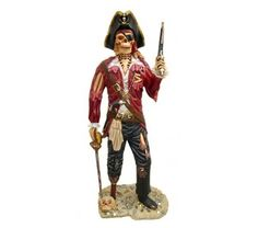Skeleton Pirate Life Size Statue Gun - 6 Ft